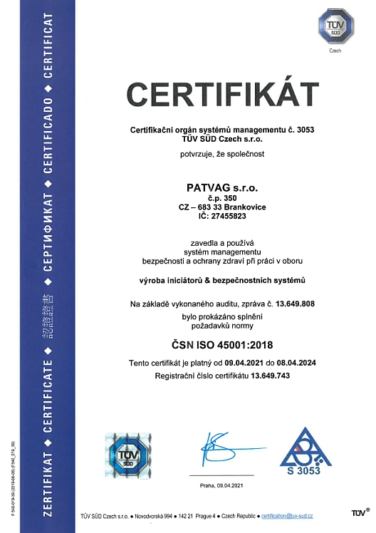 ISO 45001 certificate cz